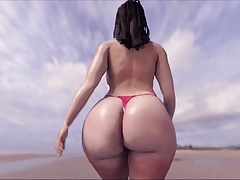 Enormous Butt on D'Beach!