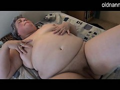 Thick granny jerking with..